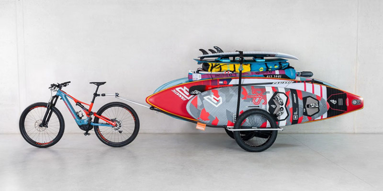 sup bike trailer with many sup boards