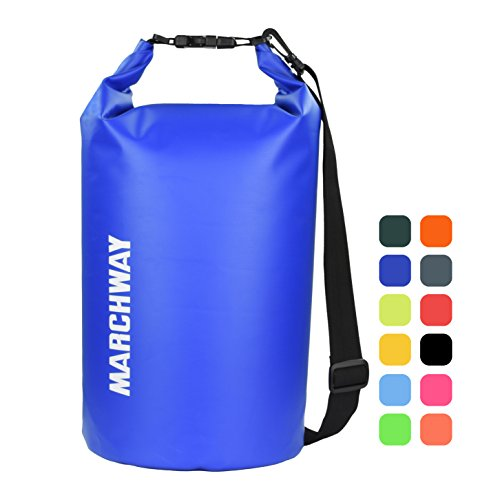Floating Waterproof Dry Bag Backpack 5L/10L/20L/30L/40L, Roll Top Dry Sack Pack for Kayaking Rafting Boating Surfing Swimming Camping Hiking Beach Fishing Skiing Snowboarding Sailing (Dark Blue, 10L)