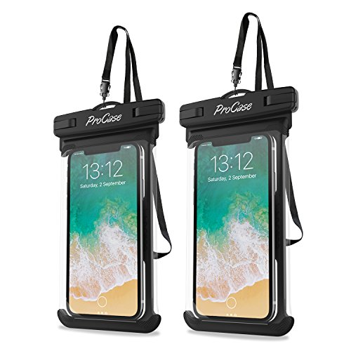 ProCase Universal Waterproof Case Cellphone Dry Bag Pouch for iPhone 11 Pro Max Xs Max XR XS X 8 7 6S Plus SE 2020, Galaxy S20 Ultra S10 S9 S8 +/Note 10+ 9, Pixel 4 XL up to 6.9' - 2 Pack, Black