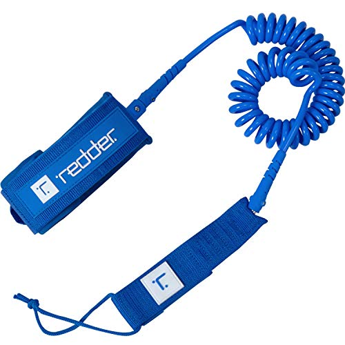 redder Coiled SUP Leash Surf Paddle Board Leg Rope for Surfing & Inflatable Stand Up Paddle Board with Double Stainless Steel Swivels and Triple Lock Rail Saver Blue