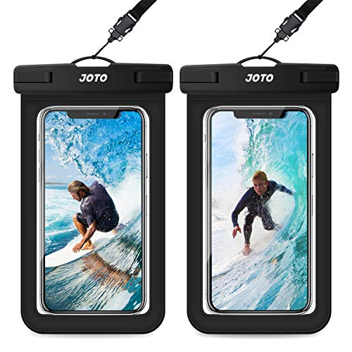 JOTO Universal Waterproof Pouch, IPX8 Waterproof Cellphone Dry Bag Underwater Case for iPhone 11 Pro Max Xs Max XR X 8 7 6S+ SE 2020, Galaxy S20 Ultra S10 S9 S8/Note10+ 9 up to 6.9' -2 Pack, Black