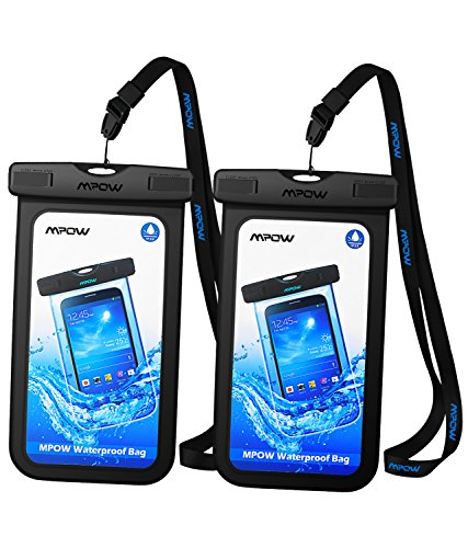 Mpow Universal Waterproof Case, IPX8 Waterproof Phone Pouch Dry Bag Compatible for iPhone 11/XS Max/XS/XR/X/8/8Plus/7/7Plus/6S/6 Galaxy S10/S9/S8 Note 10/9 Google Pixel HTC12 (Black+Black 2-Pack)