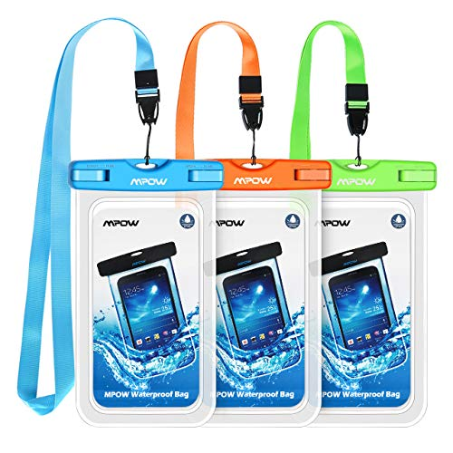 Mpow Waterproof Phone Pouch, Universal Waterproof Case Underwater IPX8 Dry Bag Compatible iPhone 11/11 Pro Max/Xs Max/XS/XR/X/8P/7P, Galaxy  S20/S10/S9, Google Pixel/HTC up to 6.8' (Blue Orange Green)