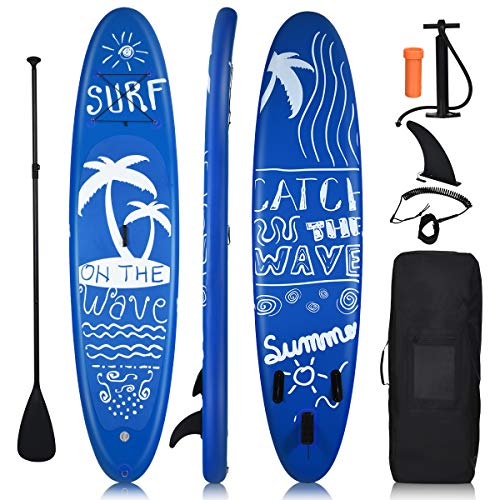 "Goplus Inflatable Stand Up Paddle Board, 6.5"" Thick SUP with Premium Accessories and Carry Bag, Wide Stance, Bottom Fin for Paddling, Surf Control, Non-Slip Deck, for Youth and Adult (Summer, 11FT)"