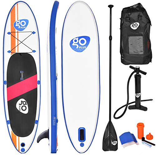 Goplus 10' Inflatable  Stand Up Paddle Board Package w/ Fin Adjustable Paddle Pump Kit Carry Backpack, 6' Thick