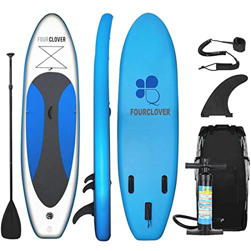 Inflatable SUP Stand Up Paddle Board (6 Inches Thick) Universal Wide Stance w/Bottom Fin for Paddling and Surf Control | Non-Slip Deck | Youth and Adult Marine Blue