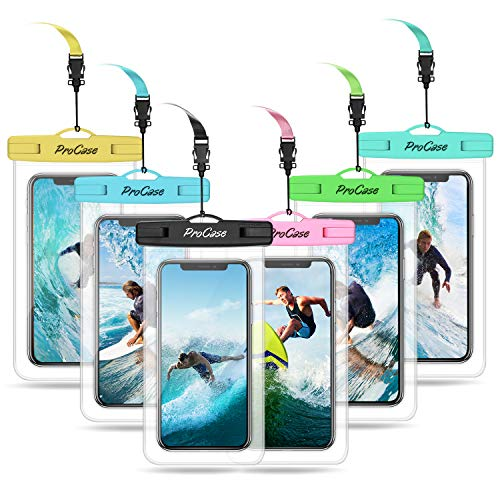 ProCase Universal Waterproof Pouch Cellphone Dry Bag Underwater Case for iPhone 11 Pro Max Xs Max XR 8 7 SE 2020 Galaxy S20 Ultra up to 6.9', Waterproof Phone Case for Beach Snorkeling -6 Pack