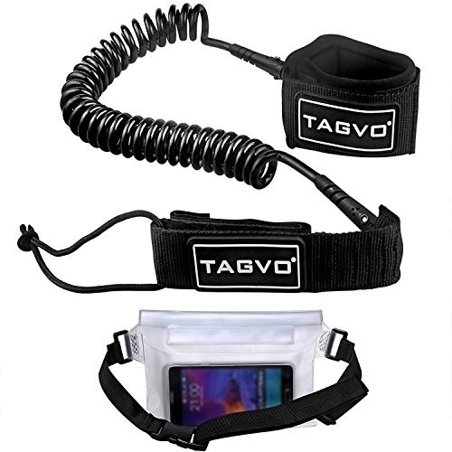 Tagvo SUP Leash Coiled 10ft Super Strong 7mm Cord with Waterproof Waist Pouch, Comfortable Padded Neoprene Ankle Cuff Stand up Paddle Board Leash with Double Swivels Anti-rust Flexible Surfboard Leash