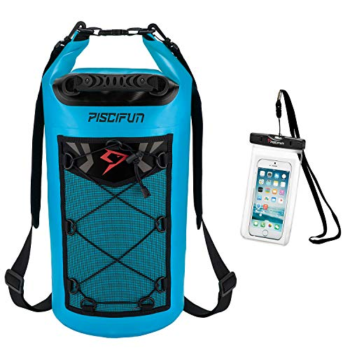 Piscifun Waterproof Dry Bag Backpack 20L Floating Dry Backpack with Waterproof Phone Case for Water Sports - Fishing Boating Kayaking Surfing Rafting Camping Gifts for Men and WomenLight Blue